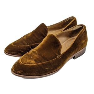 Madewell The Frances Crushed Velvet Gold Loafers